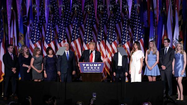 Donal Trump, en su primer discurso después de darse a conocer el resultado de las elecciones presidenciales (Reuters)