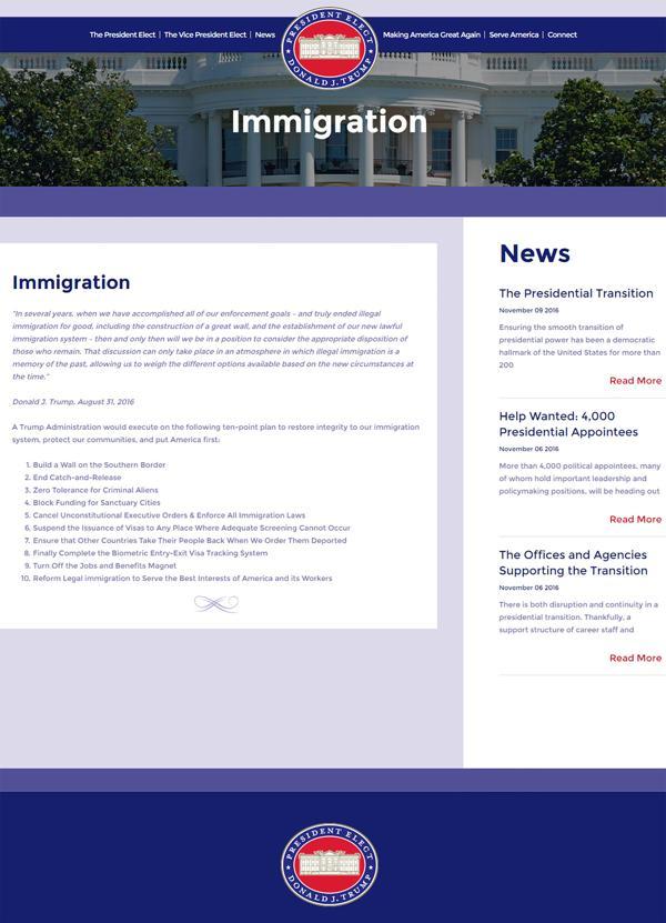 La web del equipo de transición de Donad Trump anticipa los 10 puntos de su plan para detener la inmigración ilegal