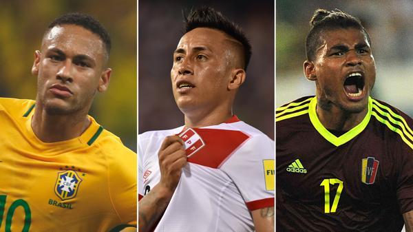 Neymar, Cueva y Martinez: Protagonistas de las goleadas en sus partidos (AFP/AP)