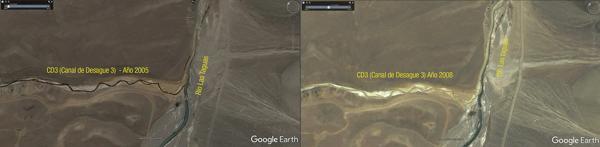 Este es el canal que hizo Barrick Gold. La foto de la izquierda muestra los estragos que hizo la acidez del agua con el paso del tiempo (TNRB)