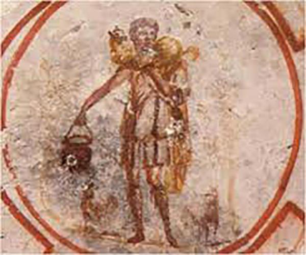 Jesús, como el buen pastor, un joven con un cordero sobre los hombros. Fresco del siglo III hallado en la Catacumba de Priscila
