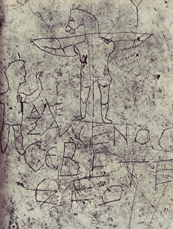 Grafito de Alexámenos. Una burla al Dios de los cristianos representado en la cruz con cabeza de animal.