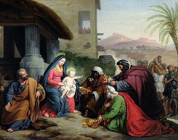 Siguiendo la estrella sotis, los reyes magos llegan a Jesús