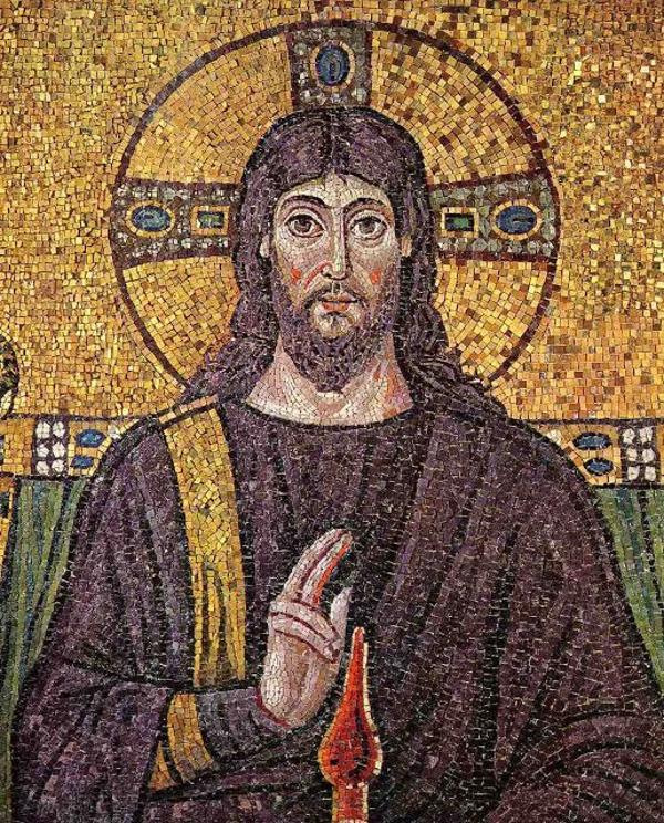 Cristo como pantocrátor (el que todo lo gobierna) en un mosaico de San Apolinar el Nuevo. Rávena. Mosaico bizantino del siglo VI