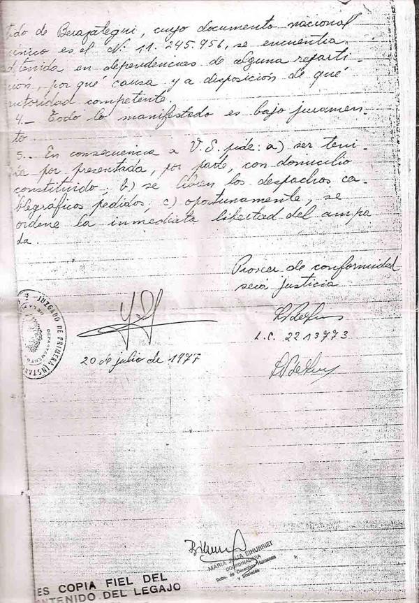 La carta que la madre de Alicia Lisso envió a Zaffaroni pidiéndole que averiguara su paradero