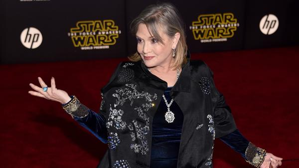 "Carrie Fisher en la premiere de ""Star Wars: The Force Awakens"" en el Dolby Theatre de Hollywood,"