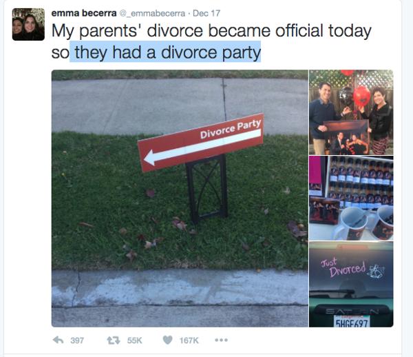Cuando la hija de los recién divorciados subió las fotos a su cuenta en Twitter, la fiesta se volvió viral