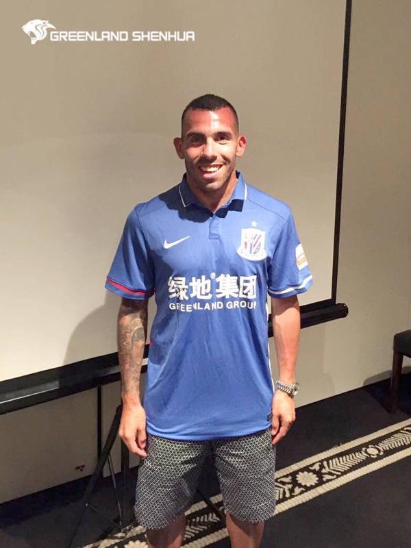 Carlos Tevez con la camiseta del club chino