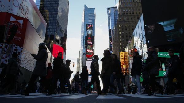 Los preparativos en Times Square (AFP)