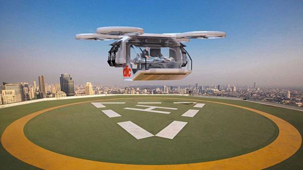 Similar a un auto pequeño, la ambulancia drone puede aterrizar en casi cualquier superficie