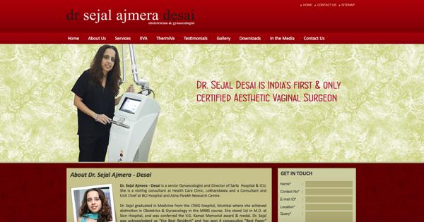 """La página de internet de la principal promotora de la """"vagina de diseño"""" que es boom en la India."""
