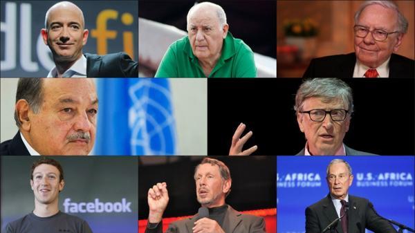 Los 8 hombres más ricos del mundo. De izquierda a derecha (de arriba abajo): Jeff Bezos, Amancio Ortega, Warren Buffett, Carlos Slim, Bill Gates, Mark Zuckerberg, Larry Ellison, Michael Bloomberg