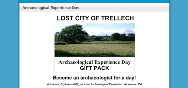 """""""¡Conviertáse en arqueólogo por un día!"""". Por una tarifa, Wilson enseña el terreno y los restos presuntos de Trellech."""