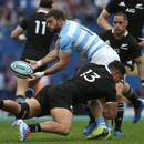 Rugby Union - Rugby Championship - Argentina v New Zealand - Jose Amalfitani Stadium, Buenos Aires, Argentina - July 20, 2019 Argentina's Ramiro Moyano in action with New Zealand's Anton Lienert-Brown REUTERS/Agustin Marcarian